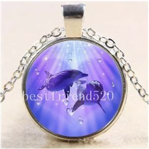 Dolphin Love Glass Pendant Necklace